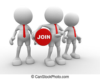 Join - 3d people - man, person with button Join