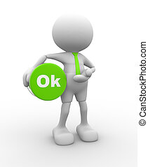 """OK - 3d people - man, person with button """" OK"""""""