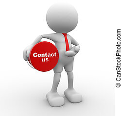 Contact us - 3d people - man, person with button Contact us...
