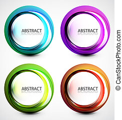 Vector swirl set - Abstract colorful vector shapes with...