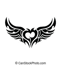 Devilish heart tattoo isolated on white background. Vector...