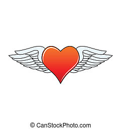 Heart with angelic wings - Red heart with angelic wings...
