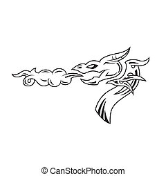 Dragon's head tattoo. Vector illustration.