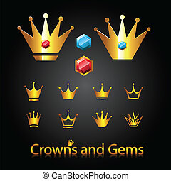 Crowns and gems - Golden royal crowns and gems. Vector...