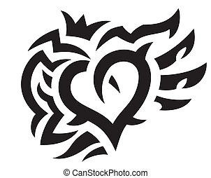 Heart with crown and wings tattoo
