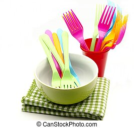 Cookware - Cooking utensils, bowl, forks and napkins