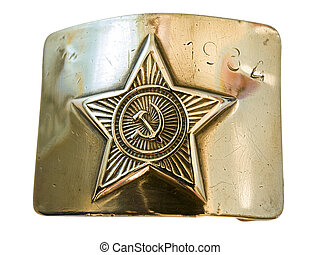 army buckle - Old soviet army metal buckle against the white...