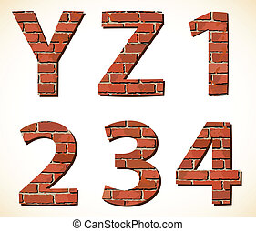 Set vector brick digit and alphabet
