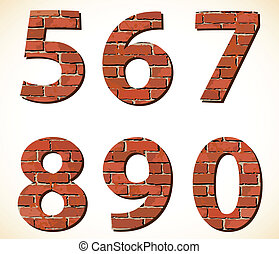 Set vector brick digit alphabet
