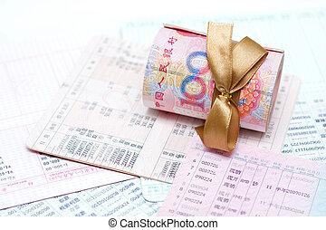 Money (Renminbi) and passbook