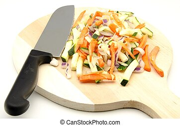 Assorted vegetables cut