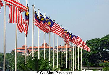 Malaysian flags near museum in Kuala Lumpur, Malaysia