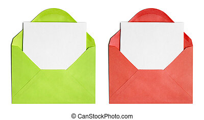 Set of isolated opened envelopes or cover with paper sheet