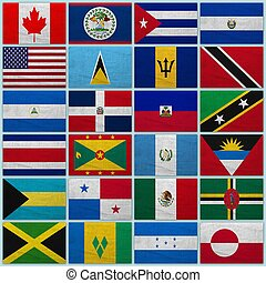 Flags of all north American countries