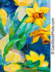 daffodil flowers - Original oil painting of beautiful...