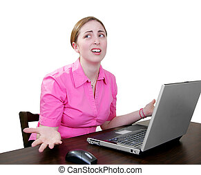 woman working at a laptop very confused - confused...