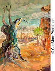 Rugged Mountain - Original oil painting of Rugged...