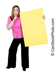 girl holding yellow sign