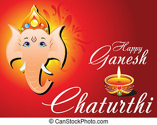 abstract ganesh chaturthi card vector illustration