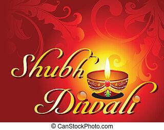 abstract shubh diwali card vector