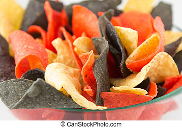 mexican style nacho chips - A bowl with delicious Mexican...
