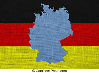 Flag and map of Germany on a sackcloth - Flag and map of...