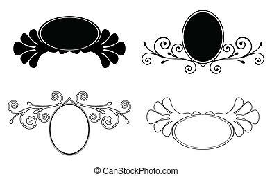 Set decorative Floral frames. Vector illustration