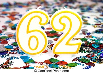 Celebration Candle - Number 62 - Number 62 celebration...