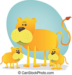 Female Lion And Its Babies - Illustration of a cute cartoon...