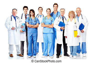 Group of medical doctors Isolated over white background