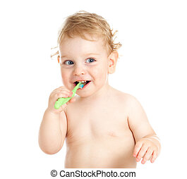 Happy baby child brushing teeth