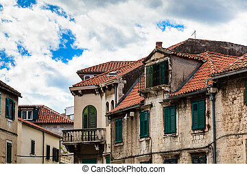 Traditional Houses with Red Tiled Roofs in Split, Croatia