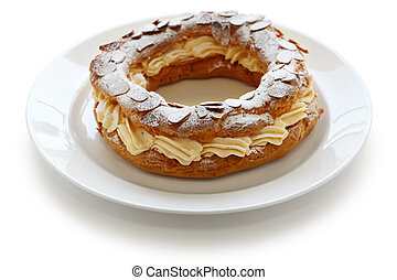 paris brest - choux pastry with praline cream, french bistro...