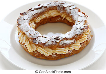 paris brest - choux pastry with praline cream, french bistro...