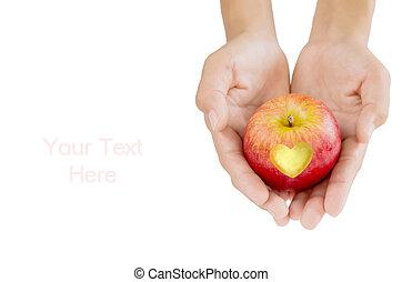 Amor, maçã, vermelho