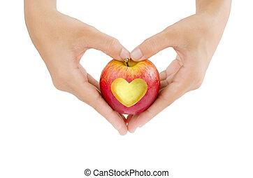 Amor, maçã, mão