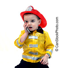 Answering 911 call - Fire Chief answers an emergency phone...