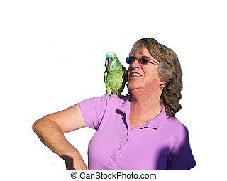Woman and Parrot