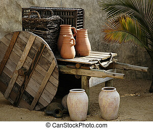 Ancient Domestic Scene - Pottery and wooden ware depicting...