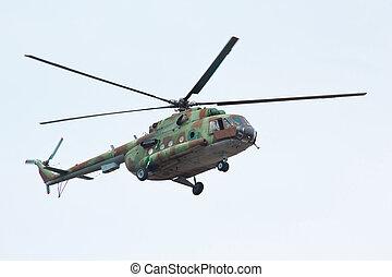 ruso, militar, helicóptero, MI-8, nublado, cielo