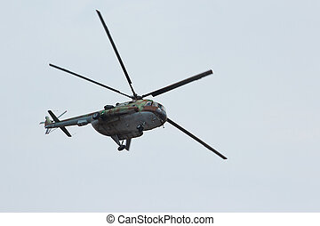 Russian flying military transport helicopter MI-8 make...