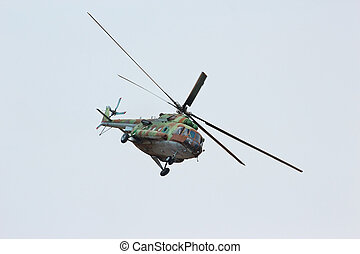 Russian military transport helicopter MI-8 make virage in...