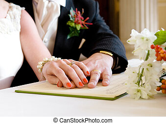 Wedding Registry Office - Newly married couple posed...