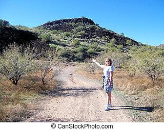 Woman on Dirt Road in Arizona