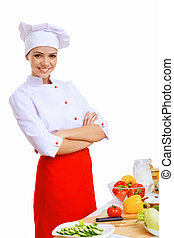 jovem, cozinheiro, Preparar, alimento