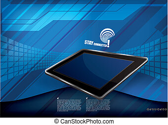 tablet on tech background