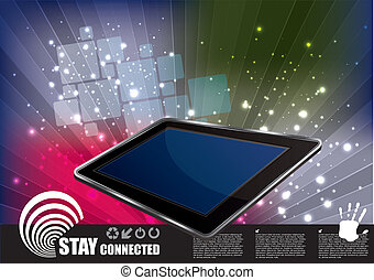 tablet on abstract background