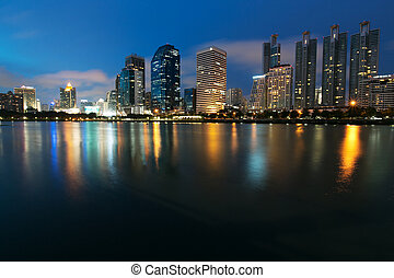 Night view of Bangkok from lake Ratchada