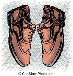 Brown man's shoes. Vector