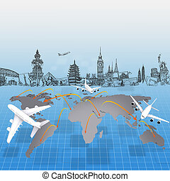 airplane around the world concept travel